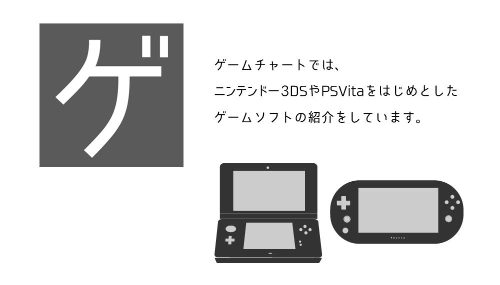ゲームチャートでは、 ニンテンドー3DSやPSVitaをはじめとした ゲームソフトの紹介をしています。